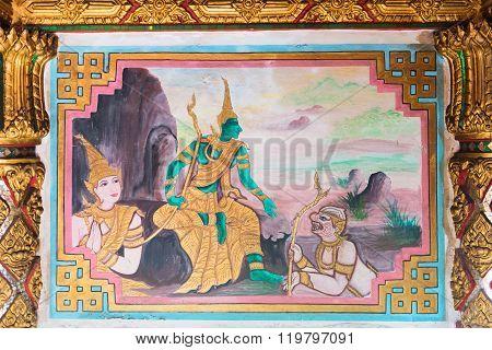 Detailed Religious Painting Inside Li Thi Miew Shrine