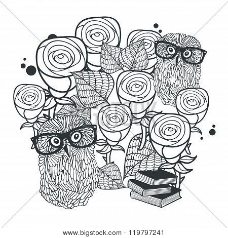 Monochrome print of cute roses and clever owls.