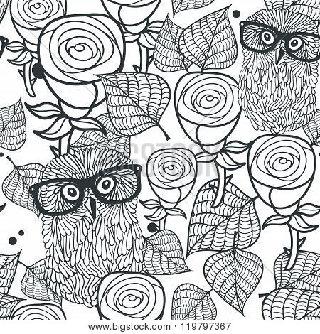 Seamless black and white pattern with flowers and birds.
