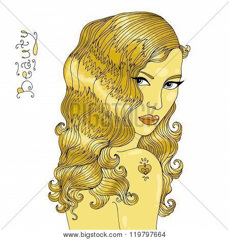 Vector hand drawn beautiful glamorous golden girl.