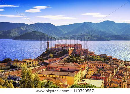 Elba Island, Portoferraio Aerial View. Lighthouse And Fort. Tuscany, Italy.