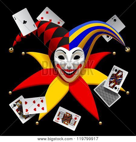 Joker head with playing cards isolated on black. Three Dimensional stylized drawing