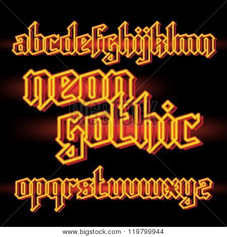 Orange neon light gothic alphabet font. vector font set