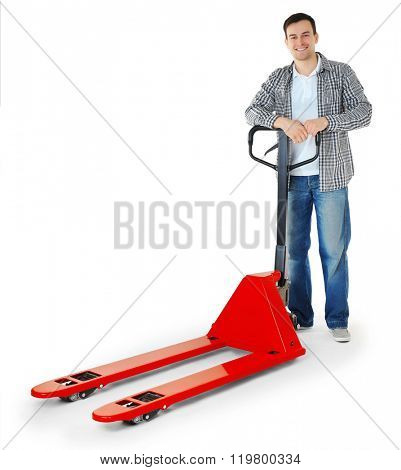 Man with hand truck isolated on white background