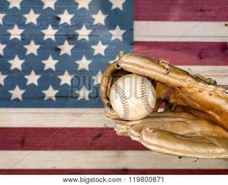 Weathered Baseball Mitt And Ball With Faded Boards Painted In American Usa Flag Colors