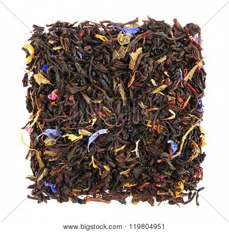 Bunch of black leaf tea, isolated on white