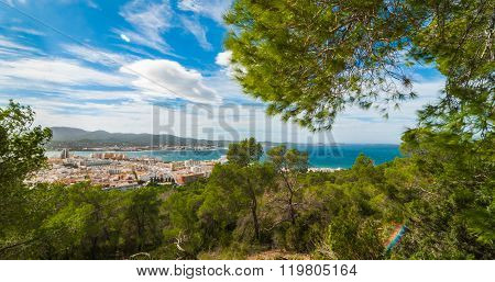 Hill side view of the city - St Antoni de Portmany, Ibiza, on a clearing day in November, kindly war