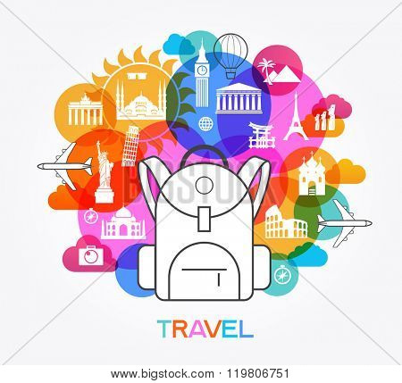 Travel and tourism background. Colorful template with icons and tourism landmarks. Icon backpack surrounded by icons of tourism. File is saved in 10 EPS version.