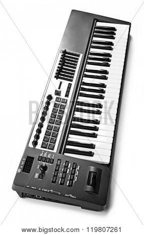 Keyboard of synthesizer closeup