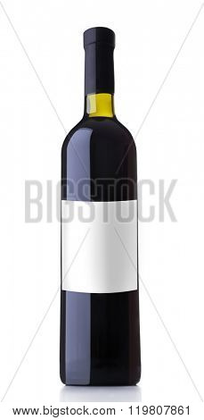 Bottle of red wine with empty label, isolated on white