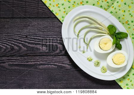 Spring Appetizer With Egg And Wild Garlic