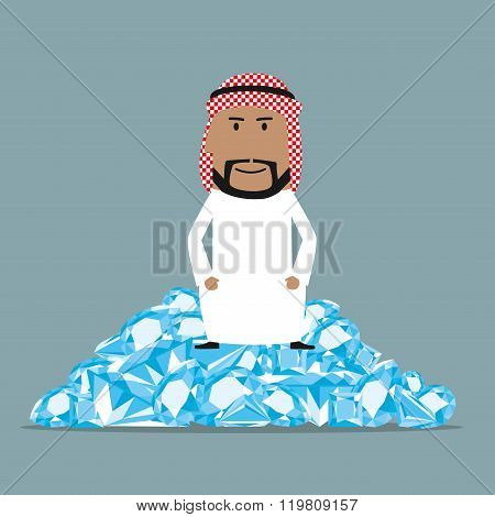 Rich arab businessman sitting on diamonds
