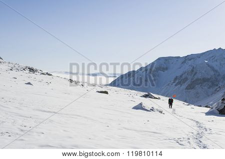 Russia, Republic Buryatiya-21 April: an unidentified tourist makes the ascent to the highest point