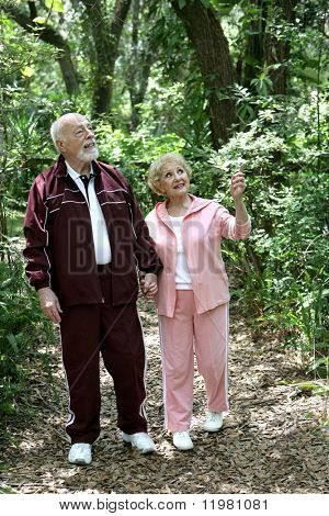 A fit retired senior couple walking together in the woods.