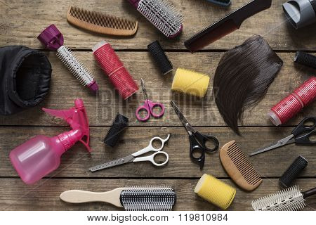 Hairdresser Tools On Wood Table