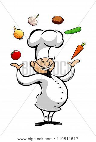 Cartoon chef juggling fresh vegetables
