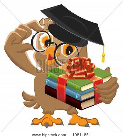 Owl teacher holding gift book. Book is best gift