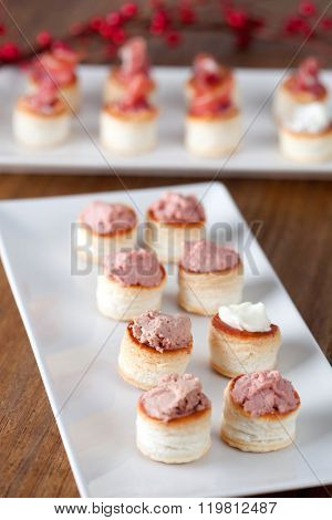 Snacks tasty snacks, assorted canapes cheese and p�¢t�©;