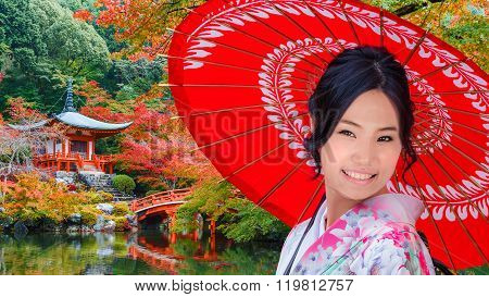 Young Japanese Woman at Daigoji Temple in Kyoto