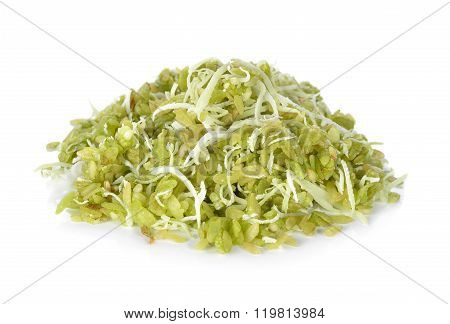 Thai Dessert Pounded Unripe Rice With Shredded Coconut On White Background