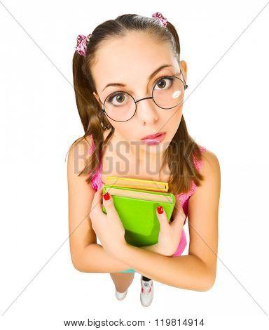 Funny schoolgirl with books isolated