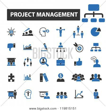 project management icons, project management logo, project management vector, project management flat illustration concept, project management infographics, project management symbols,