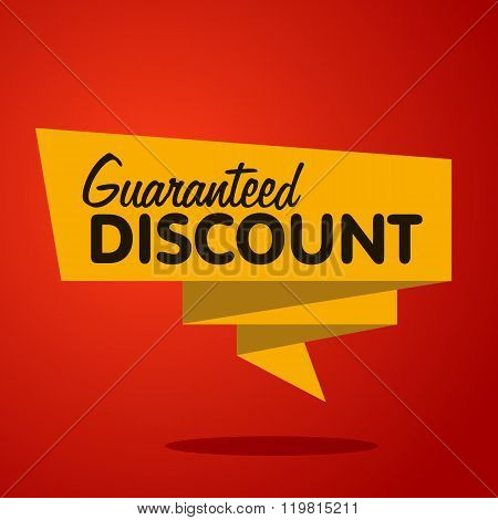 Discount label. Sale tag. Guaranteed discount vector tag. Discount icon. Discount lettering on yellow label. Sale label on red background. Discount sign. Discount tag. Discount symbol. Advertisement. Discount.