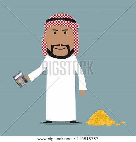 Happy arab businessman counting money