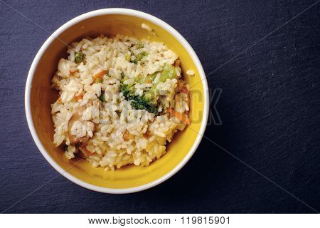 Rice Porridge On A Dark Board