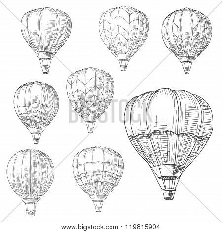Hot air balloons in flight, retro sketches