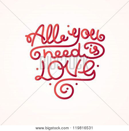 All You Need is Love Background Placard Card. Vector