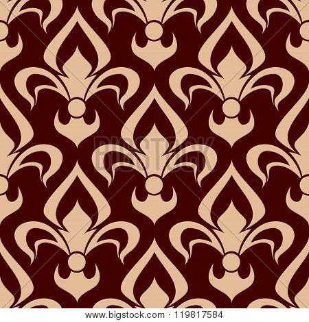 Brown fleur-de-lis seamless floral pattern
