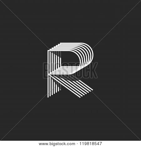 Isometric Letter R Logo Mockup, Modern Monogram Linear Initial Emblem, Geometric Shape Thin Line
