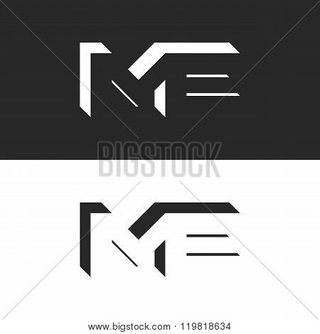Letters Me Logo Initials Wedding Invitation Or Business Card Emblem, Creative Isometric Geometric Sh