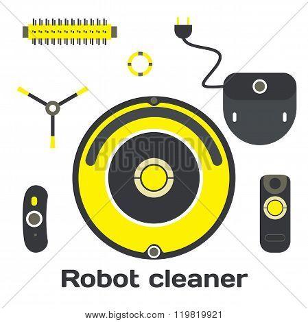 Robotic vacuum cleaner flat design. Vector set robot cleaner ele