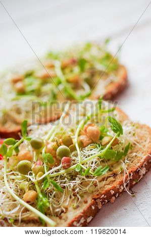 Healthy Vegetarian Sandwich With Whole Grain Bread