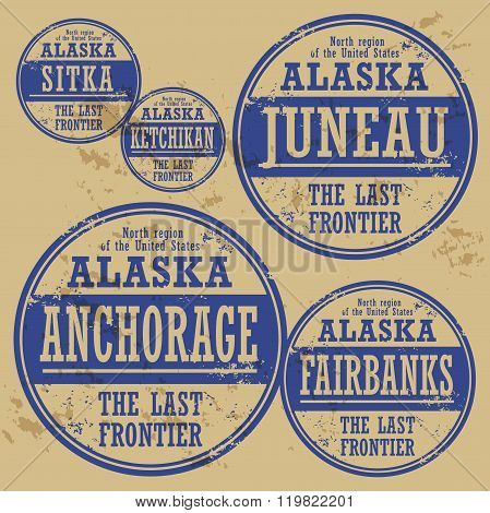 Grunge Rubber Stamp Set With Names Of Alaska Cities