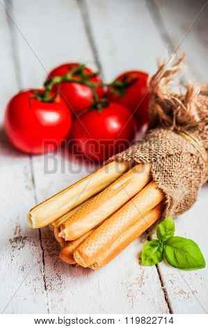 Bread Stocks On Wooden Background