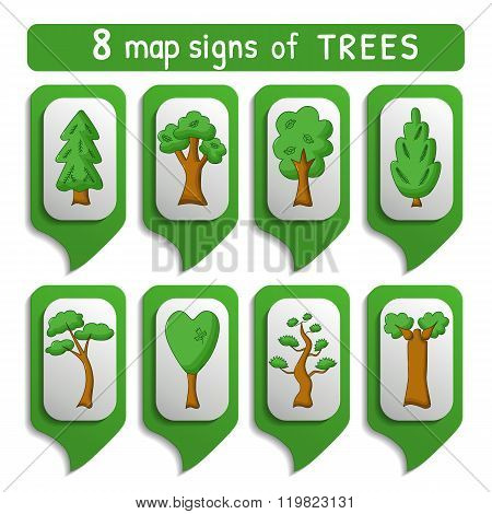 Map Sign Trees Set