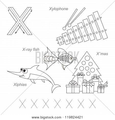 Tracing Worksheet for children. Full english alphabet from A to Z pictures for letter X the colorless version.
