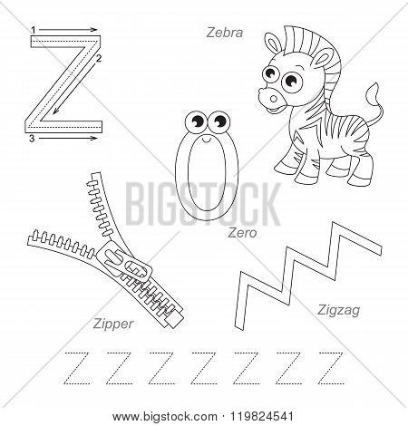 Tracing Worksheet for children. Full english alphabet from A to Z pictures for letter Z the colorless version.