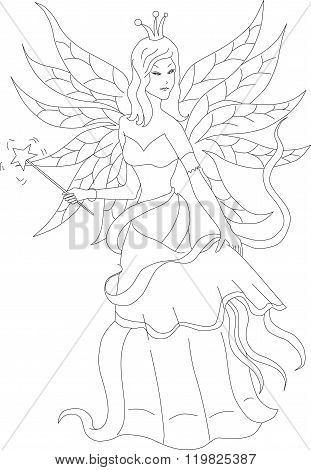 Coloring Book For Adult And Older Children. Coloring Page With Fairy. Outline Hand Drawn.