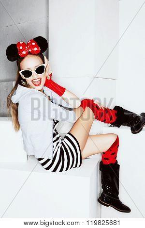 Funny girl in crazy dress