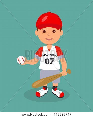 Cheerful boy baseball player with bat and ball. Isolated man character in a red baseball uniform wit