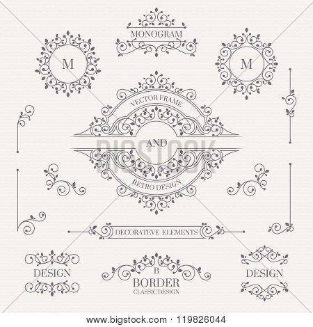 Set Of Decorative Elements. Decorative Monograms, Borders, Frames, Corners.