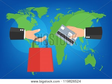 Businessman Holding Shopping Bag And Credit Card For Online Shopping On World Map Background. Vector