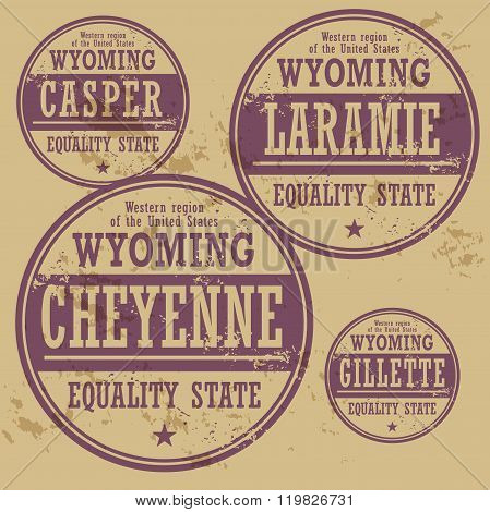 Grunge Rubber Stamp Set With Names Of Wyoming Cities