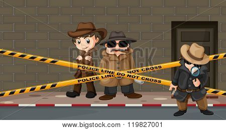 Detectives looking for clues at the crime scene illustration