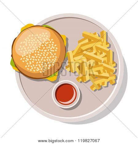 Hamburger and french fries isolated on white.