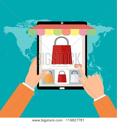 Woman Holding Tablet Smart Phone Press Buy Button To Buy Red Bag Online Shopping On World Map Backgr